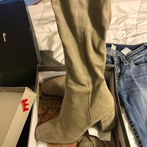 Gray thigh boots